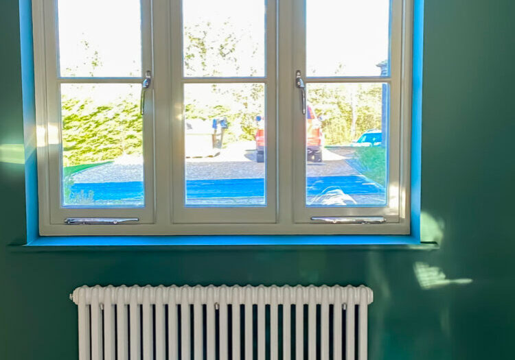 Green painted room